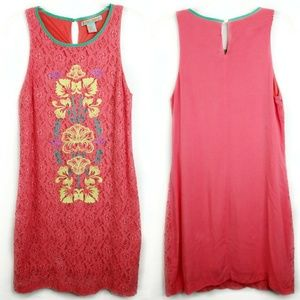Flying Tomato Coral Lace Embroidered Fitted Dress